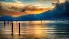 San Francisco Bay (Joseph Greco) Tags: sausalito sanfranciscobay fog alcatraz lighthouse sunrise dawn pilings bay clouds landscape