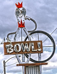 King Pin! (Noland Voide) Tags: green montana bowling neon oldsigns pin ball gutter small city red sky