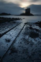 Castle Stalker (Derek Robison) Tags: scotland landscape winter uk glencoe castlestalker silhouette bluehour water longexposure