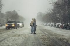 Bomb Cyclone (JMJ Cinematics) Tags: bombogenesis canon nyc newyorkcity nuevayork winter bombcyclone brooklyn newyork photojournalist photojournalism nycphotographer winterstormgrayson jmjcinematics josemiranda noreaster eastcoast nieve whiteout openforbusiness snowing snow storm couple help aid assist icyroad