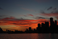 The Chicago Skyline as Viewed from the North Avenue Beach (Symbiosis) Tags: citiscape chicago chicagoskyline sunset lakemichigan redsky redskies
