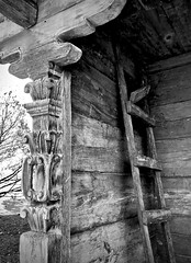 Carved (kimbar/Thanks for 3 million views!) Tags: newmexico museumhill santafe traditionalhouse ladder entry doorpost woodcarving