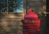 Post (V Photography and Art) Tags: red postbox santa christmas cabin bokeh twinkle window