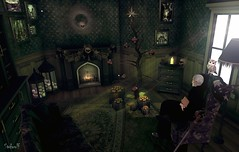 Dark Christmas (Second Life Photo Reporter) Tags: titans thesecretaffair christmas tree mage wizard blackhouse gacha decoration home fireplace owl sunbeam