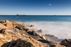 Slowly Vado (paolo.giachino) Tags: savona longexposure vado sea sky rock bay seaside long exposure nd filter nisi nave petroliera italy liguria cliff inverno winter onde waves clear slow ship tanker oil beach spiaggia 1635 canon tripod treppiede 5d afterlunch afternoon