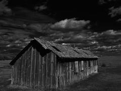 Chicken Coop (Tim @ Photovisions) Tags: nebraska gageco chickencoop building farm sky clouds monochrome blackandwhite coop