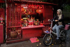 Chinese Shrine in Bangkok (Goran Bangkok) Tags: bangkok thailand shrine chinese religion bicycle woman muslim buddhist redrules smileonsaturday