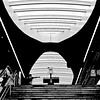 THE POINTING FINGER (Akbar Simonse) Tags: arnhem holland netherlands nederland station stairs trap people architecture streetphotography straatfotografie zwartwit bw blancoynegro bn monochrome square vierkant akbarsimonse klok clock