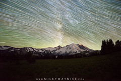 Star Trails over Mount Rainier (Mike Ver Sprill - Milky Way Mike) Tags: star trails milky way mike astrophotography astronomy startrails trail stars starry galaxy universe cosmos comet meteor mountain range mountains mount rainier washington state sunrise visitor center beautiful nightscape travel dark skies night sky trees mountainside snow silhouette
