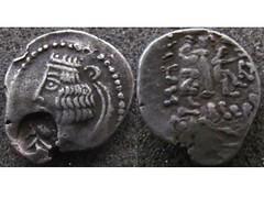 Indo-Parthian (Baltimore Bob) Tags: ancient coin money silver drachm parthia parthian indoparthian sogdiana margiana vardanesi countermark imitative
