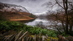 Over the wall...Nant Gwynant (Einir Wyn Leigh) Tags: landscape lake water valley wales cymru colorful nature winter december light stone snow weather trees foliage