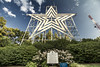 The Roanoke Star - Mill Mountain (Virginia) (Andrea Moscato) Tags: andreamoscato america statiuniti usa unitedstates us blue white green sky cielo clouds nuvole shadow ombre light luce day silhouette sign site neon stella mountain montagna iron metallo nature natura vivid