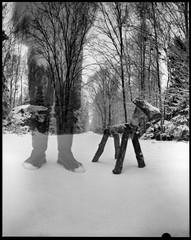 man and his dog (Foide) Tags: pinhole homemade peasoupcan f180 nolens winter snow