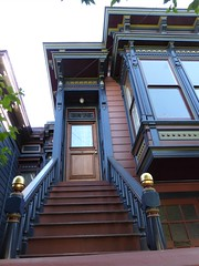 San Francisco, CA, Noe Valley, Victorian House Stairs and Entrance (Mary Warren 13.5+ Million Views) Tags: sanfranciscoca noevalley house residence victorian entrance door doorway portal blue architecture building stairs gold