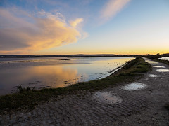 Pennington Marshes (Bruce Clarke) Tags: olympus landscape winter seawall thesalterns thesolent vario clouds m43 omdem1 isleofwight lumix outdoor hampshire sky penningtonmarshes panasonic1235mmf28 sunset sea dusk