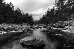 Río del medio (Paio S.) Tags: bw rock tree water river sky clouds landscape woods monocromo monochrome black white silence peace middle