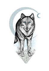 Wolf and the Crescent Moon, Art by SherrieThai of Shaireproductions.com (shaire productions) Tags: wolf mythology legend animal wiccan nativeamerican courage strength spirit shaireproductions sherriethai art illustration drawing nature symbolism magick pen tattooart sanfranciscoartist bayareaartist dog winter wild creature darkness occult darkart gothic zentangle pattern fantasy