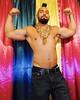 DSCN0143 (danimaniacs) Tags: mrt shirtless hunk man guy stud sexy denim jeans mansolo beard scruff costume party colorful curtain