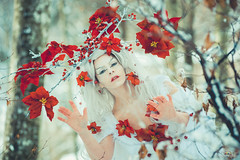 """TEATRONATURA """"The Spirit of winter"""" (valeriafoglia) Tags: model makeup magic art atmosphere winter spirit creature fantasy fairy forest face flowers red white outfit colors creative composition capture nature photo photography snow wood"""
