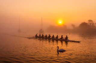 Sunrise with rowing team