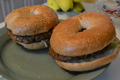 Bagel Burger (Vegan) (Vegan Butterfly) Tags: vegan vegetarian food yummy tasty delicious burger bagel bread field roast wheat meat patty barbecue sauce maple