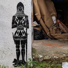 The Eternal Sentry (id-iom) Tags: aerosolpaint armour art arts brixton cool england graffiti idiom knight london man nightatthemuseum paint sentry spray spraypaint stencil street streetart sword uk urban vandalism wall