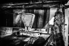 La dernière pesée. / The last weighing. (vedebe) Tags: noiretblanc netb nb bw monochrome ville rue street city filets abandonné decay urbain urban port ports
