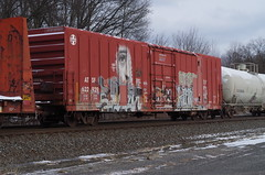 rootstown 218 (Fan-T) Tags: 622929 rootstown atsf boxcar eye graffiti face