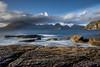 Elgol Rockscape explored (mandyhedley) Tags: elgol sunset rocks clouds landscape water sun square waves blue orange sunrays longexposure flickrexploreme explore