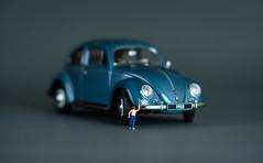 Swatting a Bug (John G Briggs) Tags: preiser ho scale figure little people swatting bug volkswagen studio flash