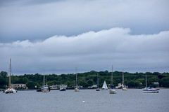 Clouds and Boats (thatSandygirl) Tags: clouds gloomy rainy water bay longisland boats sailboats spring may grey gray ocean