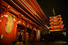 The five-storied pagoda where a night sky is colored (chikaraamano) Tags: fivestoriedpagoda night sky colored tokyo asakusa temple winter japan japanese old construction technique heart soul symbolically mirrorprecinct spirit investigated feeling newyear freshness met