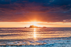 Sunrise Seascape with Sunrays (Merrillie) Tags: daybreak landscape nature southcoast mountains water newsouthwales sea nsw sun batemansbay beach ocean australia waterscape scenery coastal island sunrise seascape dawn coast clouds snapperisland