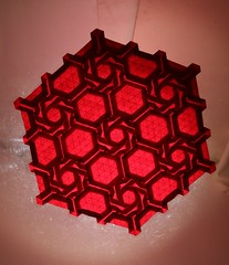 IOIO 2017 - Knot Tess (backlit) (Tankoda) Tags: origami art paper fu wei travis nolan pink tesselation ioio 2017 international internet olympiad hexagon tant backlit geometry geometrical white