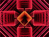 3D Neon in Red (Mary Faith.) Tags: 3d red neon lights symmetrical pattern distance art depth