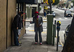 The Man With the Red Hat (Flipped Out) Tags: sanfranciscocalifornia divisadero hayesvalley