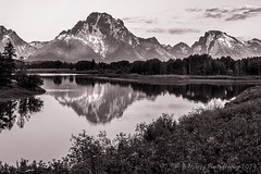 Oxbow Bend (Browtine1) Tags: bw mono white black grandtetons reflection river water mountains wyoming nationalparks gtnp snakeriver oxbowbend mtmoran 7dwf