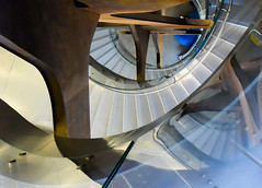 Reflection of a stairway (Marian Pollock) Tags: madrid spain europe spiral staircase reflection abstract light shade colours architecture stairway