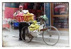 Mobile fruit stand (posterboy2007) Tags: nepal kathmandu bicycle fruit street vendor sony