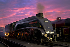 A4 at dusk (Nigel Valentine) Tags: 60009 sunset pink sky a4 steam sheds