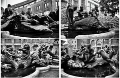 Szenen einer Ehe (Helmut Reichelt) Tags: bw sw ehekarussel ehebrunnen hanssachsbrunnen brunnen skulpturen streetphoto nürnberg franken bavaria deutschland germany sommer august leica leicam typ240 silverefexpro2 leicasummilux35mmf14asphii collage