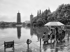 sun & moon pagoda (AlistairKiwi) Tags: china olympus travel omd olympus1442mm guilin lijiang river guangxi black white monochrome