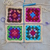 Four Roseanne Reboot granny squares joined with contrasting yarn (crochetbug13) Tags: crochetbug crochetsquares grannysquares crochetblanket crochetafghan crochetthrow roseanne roseannereboot roseannesofablanket crocheted crocheting scrapyarn yarnstash