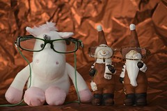 Unicorn & gnomes (SAN_DRINO) Tags: pink unicorn 2 gnomes with glasses fantasy two shiny red background white xmas chistmas share view cute santa claus dress once upon time