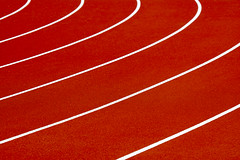 Running track (on Explore) (Jan van der Wolf) Tags: map179104v lines lijnen curves red rood oranje raceway racecourse racetrack track runningtrack atletiekbaan hardloopbaan minimalism