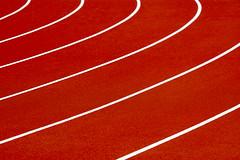 Running track (on Explore) (Jan van der Wolf) Tags: map179104v lines lijnen curves red rood oranje raceway racecourse racetrack track runningtrack atletiekbaan hardloopbaan minimalism