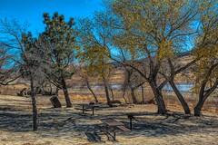 Abandoned Park (Joe Lach) Tags: elizabethlake abandonedpark trees picnictables lake mud yellow green blue sierrapelonamountains leonavalley joelach