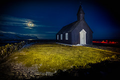 Buðir Moon - HDR (AlexanderFritz) Tags: bud buðir moon hdr iceland snæfelness winter church black full