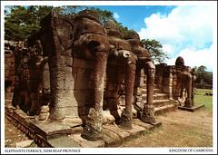 postcard - Terrace of the Elephants, Angkor Thom, Cambodia 2 (Jassy-50) Tags: postcard angkor angkorthom siemreap cambodia angkorarchaeologicalpark terraceoftheelephants elephantsterrace elephant sculpture basrelief ancient ruins khmer archaeology unescoworldheritagesite unescoworldheritage unesco worldheritagesite worldheritage whs