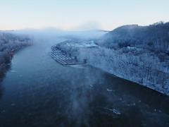 Misty Monongahela Morning (photography_isn't_terrorism) Tags: fog monongahela river ice snow towboat barge monongahelariver monriver alicia brownsville ethereal barges boat